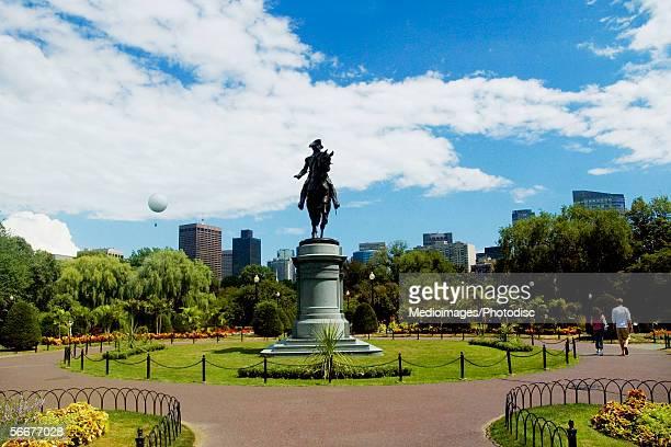 Low angle view of a statue in a garden, George Washington statue, Boston Public Garden, Boston, Massachusetts, USA