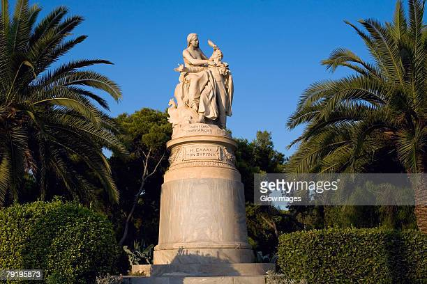 Low angle view of a statue in a garden, National Garden, Athens, Greece