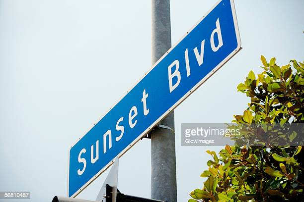 Low angle view of a Sunset Boulevard Sign, Los Angeles, California, USA