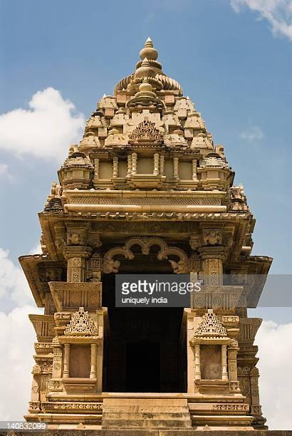 low angle view of a temple, lakshmana temple, khajuraho, chhatarpur district, madhya pradesh, india - khajuraho stock pictures, royalty-free photos & images