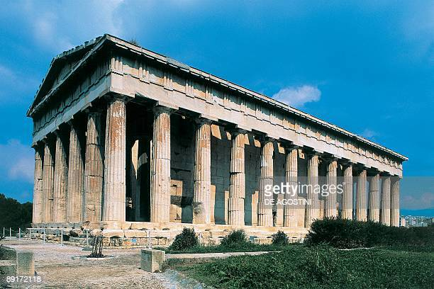 Low angle view of a temple Temple Of Hephaestus Ancient Agora Athens Greece