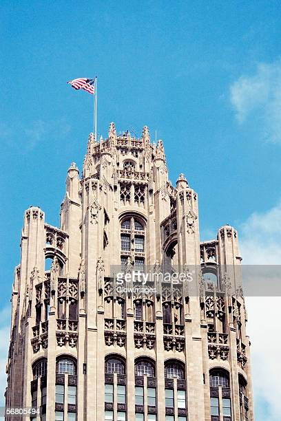 Low angle view of a tower, Tribune Tower, Chicago, Illinois, USA