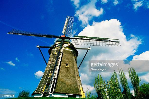 Low angle view of a traditional windmill, Leiden, Netherlands