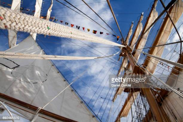 Low angle view of a vessel's mast