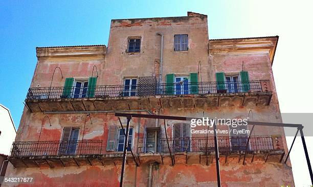 Low Angle View Of Abandoned Building Against Clear Sky