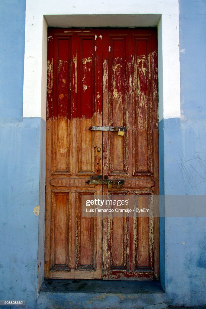 Low Angle View Of Abandoned Closed Door : Stock Photo
