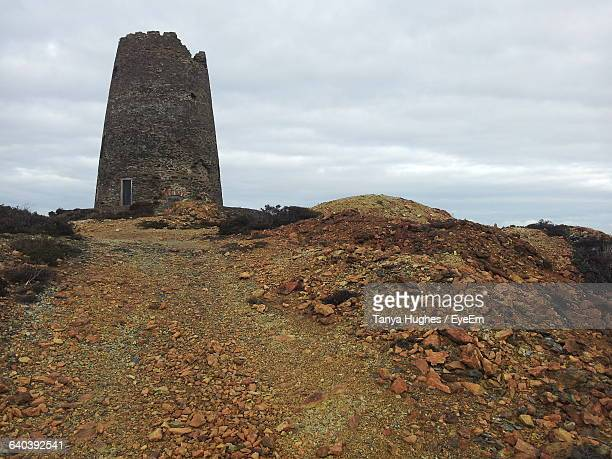 Low Angle View Of Abandoned Copper Mine Tower At Parys Mountain