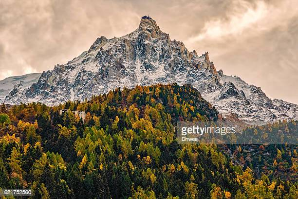 Low Angle View Of Aiguille Du Midi 3842m In Autumn, Mont Blanc Massif, France