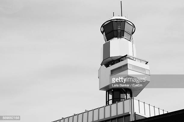 Low Angle View Of Air Traffic Control Tower Against Clear Sky