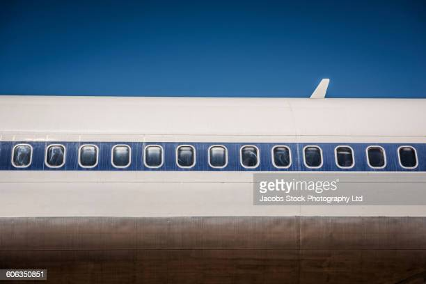 Low angle view of airplane exterior