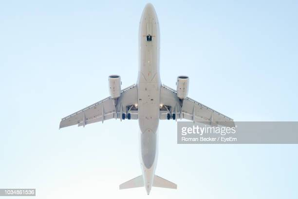 low angle view of airplane flying against sky - avion fotografías e imágenes de stock