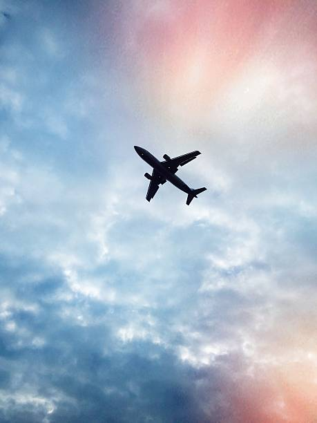 Low Angle View Of Airplane Flying In Cloudy Sky Wall Art
