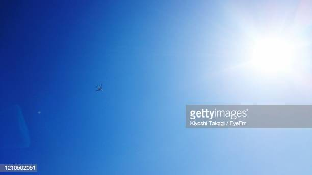 low angle view of airplane flying in sky - 太陽フレア ストックフォトと画像