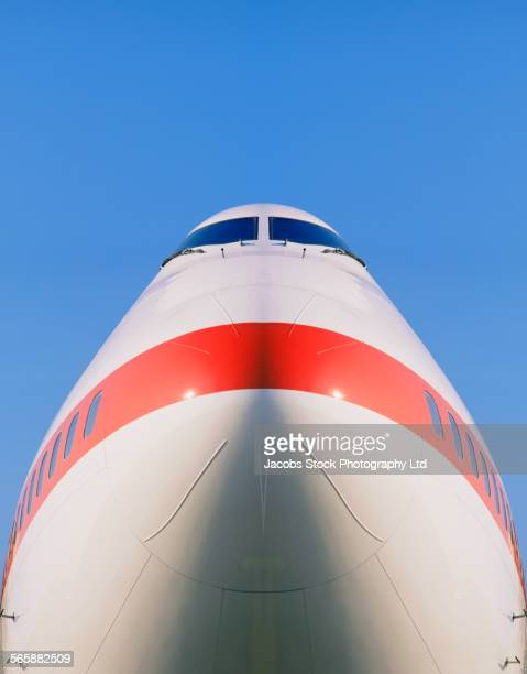 Low angle view of airplane nose
