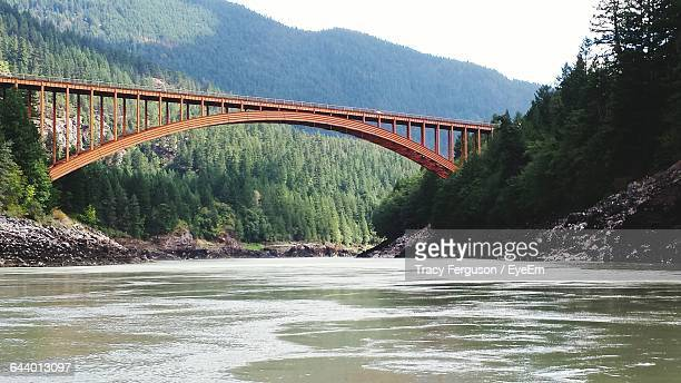 Low Angle View Of Alexandra Bridge Over Fraser River