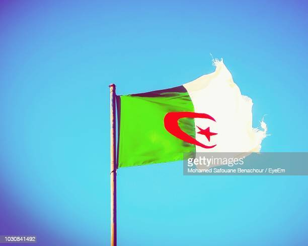 Low Angle View Of Algerian Flag Waving Against Clear Blue Sky