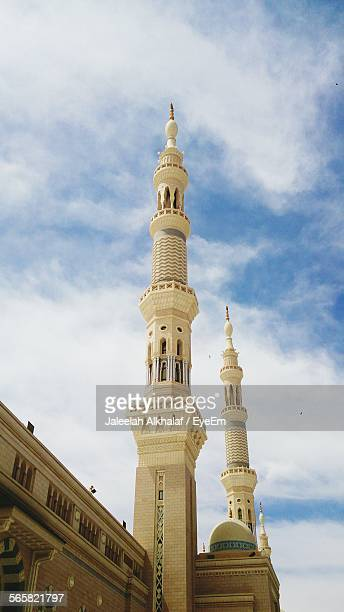 low angle view of al-masjid an-nabawi against sky - al madinah stock pictures, royalty-free photos & images