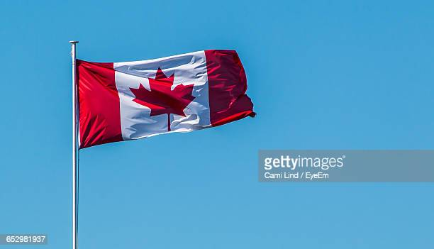 low angle view of american flag against clear blue sky - canadian flag stock pictures, royalty-free photos & images