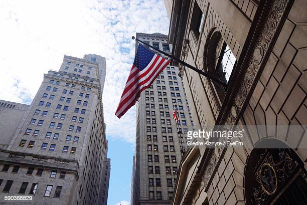 Low Angle View Of American Flag On Building In Manhattan