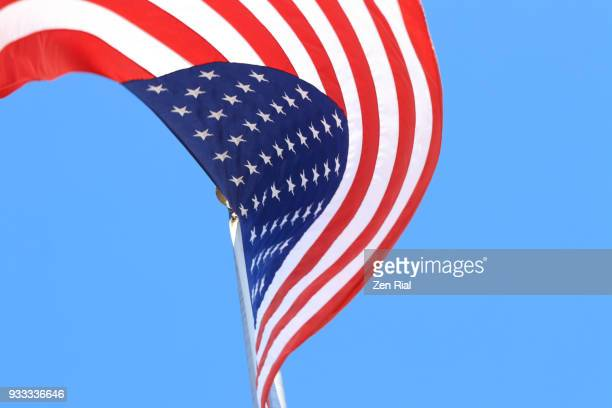 Low angle view of American national flag waving against blue sky