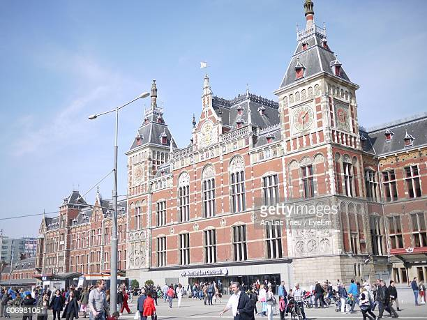 Low Angle View Of Amsterdam Centraal Railway Station Against Sky In City