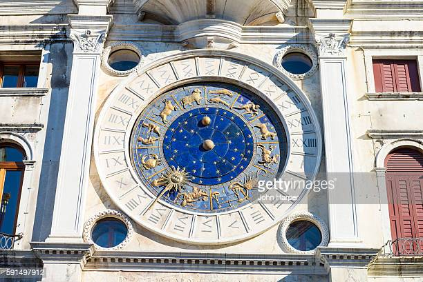 Low angle view of an astrological clock, St. Mark's Square, Venice