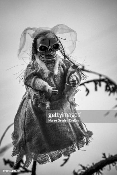 low angle view of an doll during halloween against sky - cambridge new zealand stock pictures, royalty-free photos & images