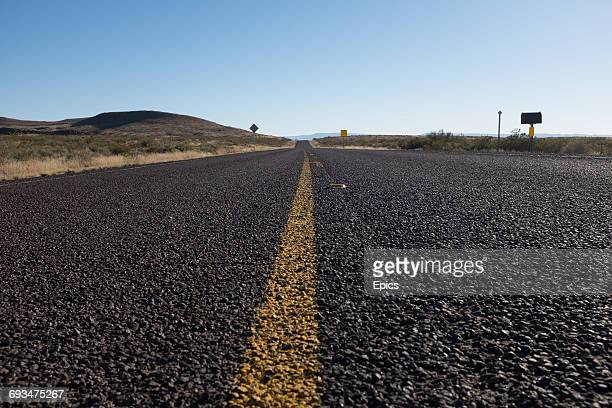 A low angle view of an empty US180 highway near the New Mexico border Texas