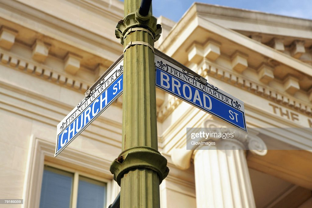 Low angle view of an information board in front of a building, Charleston, South Carolina, USA : Stock Photo