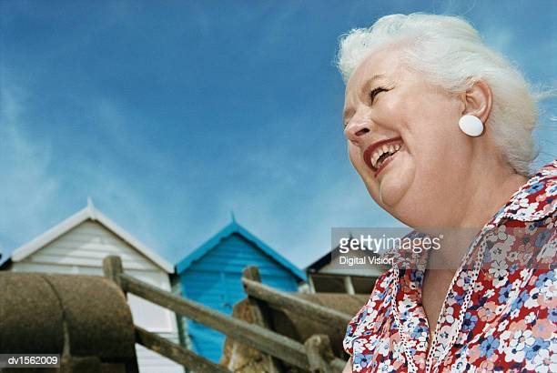 Low Angle View of an Overweight Smiling Senior Woman