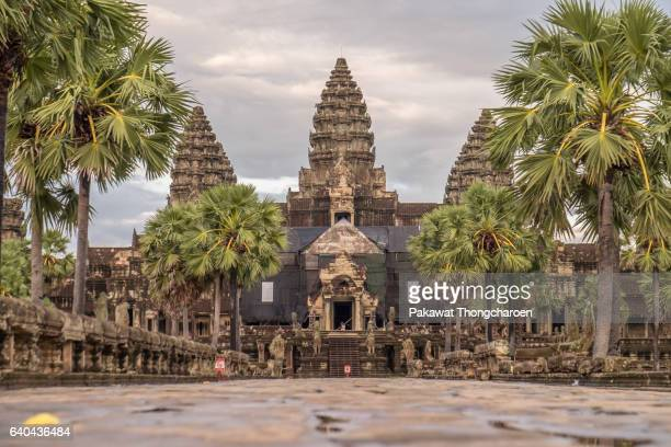 Low Angle View of Angkor Wat, Siem Reap, Cambodia