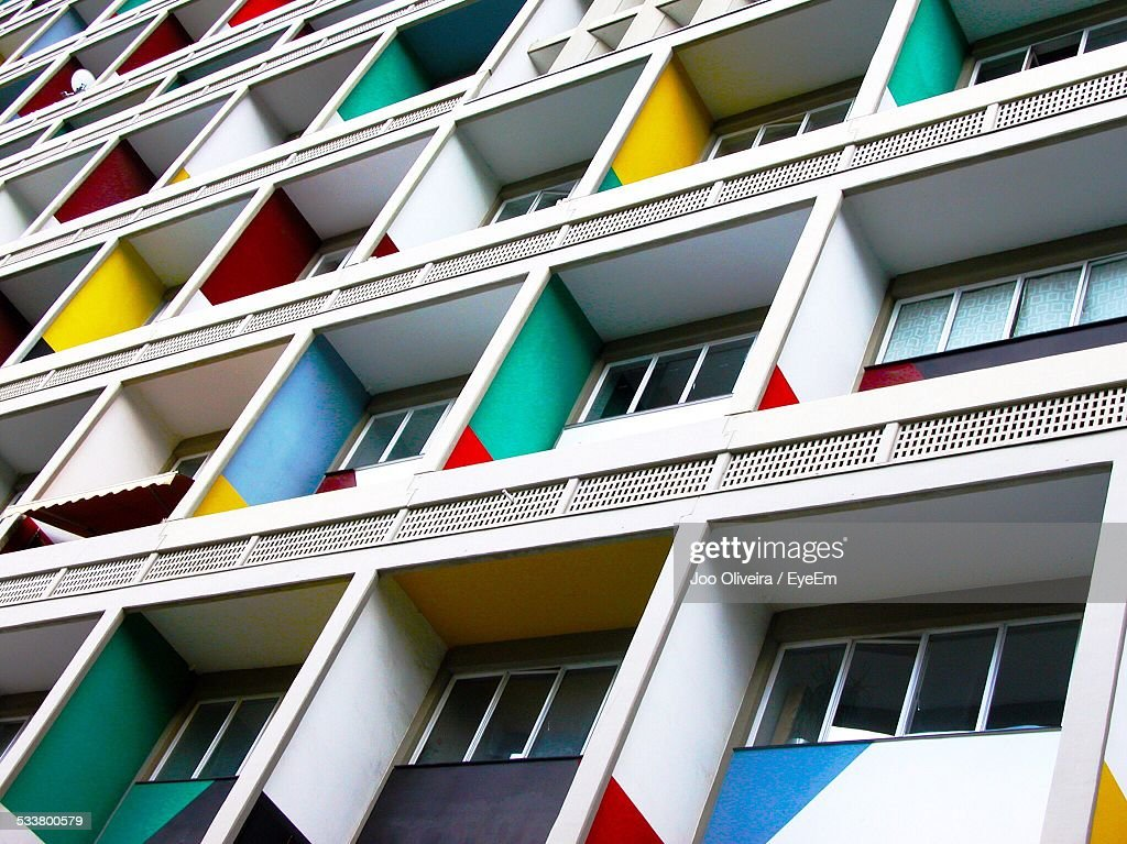 Low Angle View Of Apartment Balconies : Foto stock