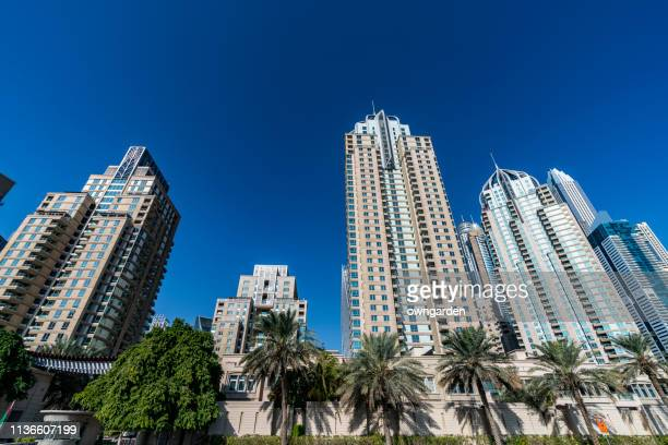 Low Angle view of Apartment houses in Dubai city