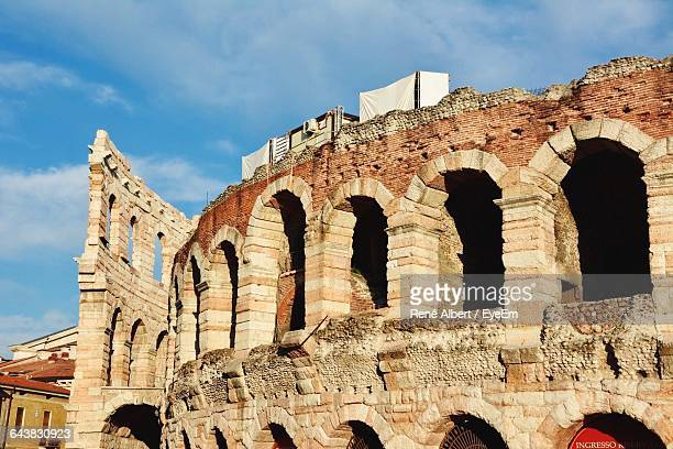 Low Angle View Of Arena Di Verona Against Sky
