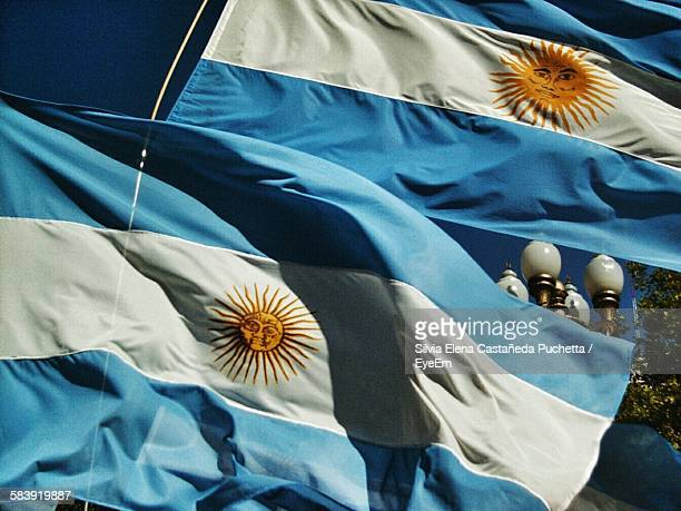 low angle view of argentinian flags - argentinas flagga bildbanksfoton och bilder