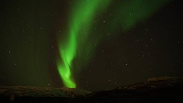 Low angle view of aurora borealis against sky at night,Norway