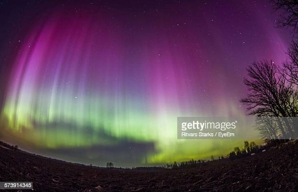 Low Angle View Of Aurora Borealis At Night
