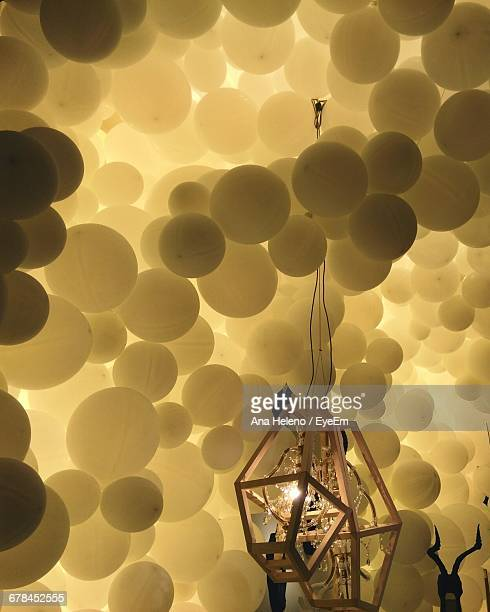 Low Angle View Of Balloons And Lighting Decoration