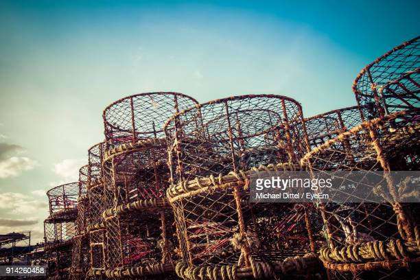 low angle view of basket against sky - portsmouth england stock pictures, royalty-free photos & images