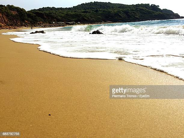 Low Angle View Of Beach And Sea