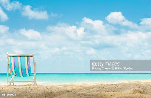 Low Angle View Of Beach Chair