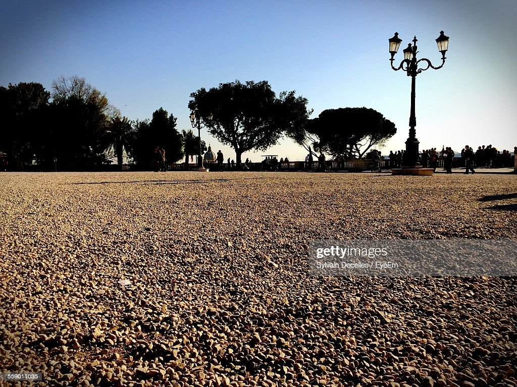 Low Angle View Of Beige Gravel In Park : Stock Photo