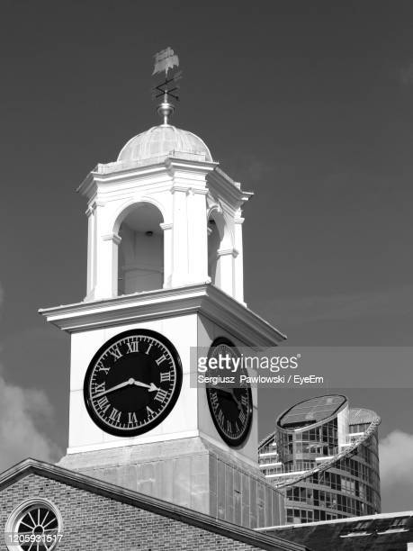 low angle view of bell tower against sky - portsmouth england stock pictures, royalty-free photos & images