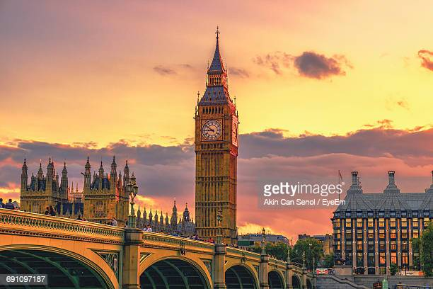 Low Angle View Of Big Ben At Sunset