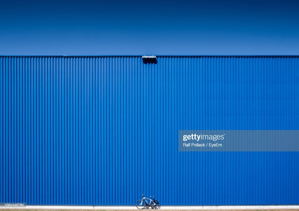 Low Angle View Of Blue Container Against Clear Sky : Stock Photo
