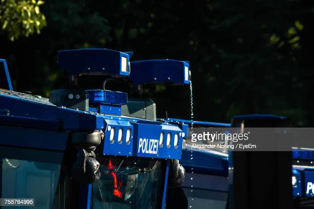 Low Angle View Of Blue Police Water Cannon Truck