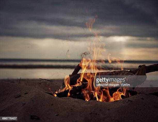 low angle view of bonfire at dusk on beach - lagerfeuer stock-fotos und bilder