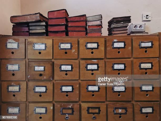 Low Angle View Of Books On Lockers