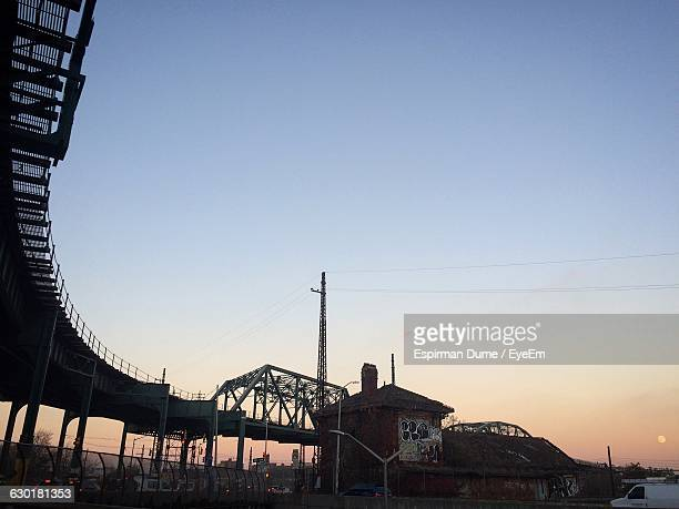 low angle view of bridge against clear blue sky - bronx stock pictures, royalty-free photos & images