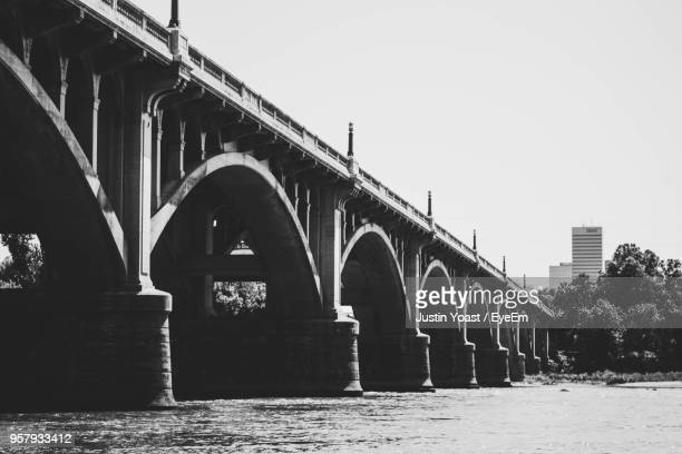 low angle view of bridge against clear sky - columbia south carolina stock pictures, royalty-free photos & images